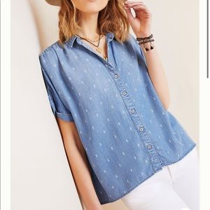 Anthropologie Cloth & Stone Lace Buttondown